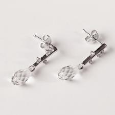 Обеци POINT SWAROVSKI® BRIOLETTE 11мм Crystal, Бял цвят, Код ZG E421