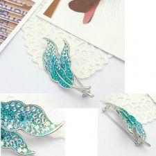 Луксозна Брошка с Форма на Листа, Сваровски Елементи, ZG M005