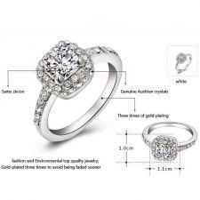 Пръстен ПЕРФЕКТА NEW с кристален цирконий и 18К Бяло Злато, Колекция Zerga Brand ZG R019A