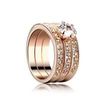 ТРОЕН пръстен Swarovski, колекция Zerga, 18К розово златно покритие, ZG R807