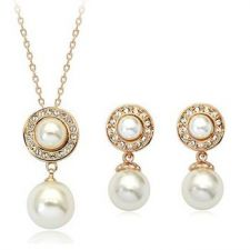 Перлен комплект КАРОЛИНА, колие и обеци с перли, колекция Zerga Jewelry, 18К розово златно покритие ZG S007