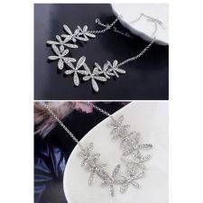 Комплект ЖАСМИН със Сваровски Кристали 18К бяло златно покритие, Колие, обеци, пръстен и гривна, бижута Zerga ZG S016