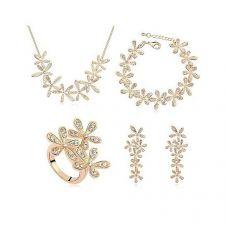 Комплект ЖАСМИН Swarovski кристали, Колие, обеци пръстен и гривна, жълто злато, Zerga, ZG S028