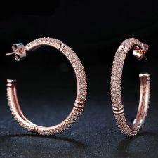 Обеци ЗЛАТИНА, халки с 18К Розово Злато и Кристали, Zerga Brand, ZG E559